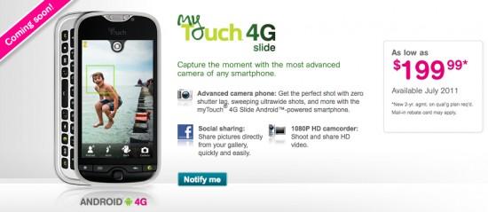 T-Mobile Announces Mytouch 4G Slide