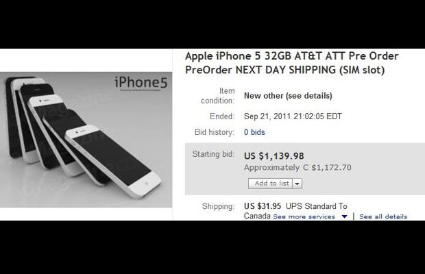 iPhone 5 eBay Auction