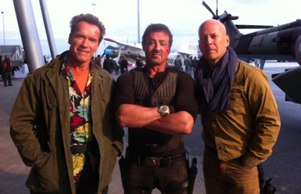 The Expendables Arnold Schwarzenneger, Sylvester Stallone, and  Bruce Willis