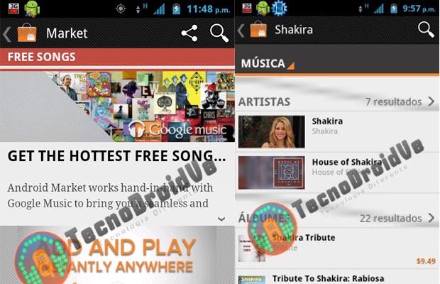 Google Android Music Store Screenshot
