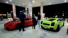 Video: Lamborghini Aventador vs Twin-Turbo Gallardo Street Race