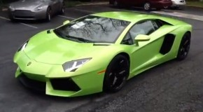 Lime Green Lamborghini Aventador Spotted [Video]
