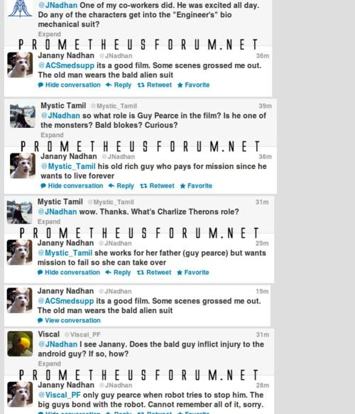 Prometheus spoilers tweeted online