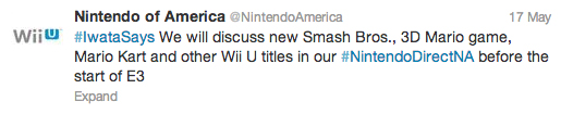 Nintendo Direct E3 2013 Tweet