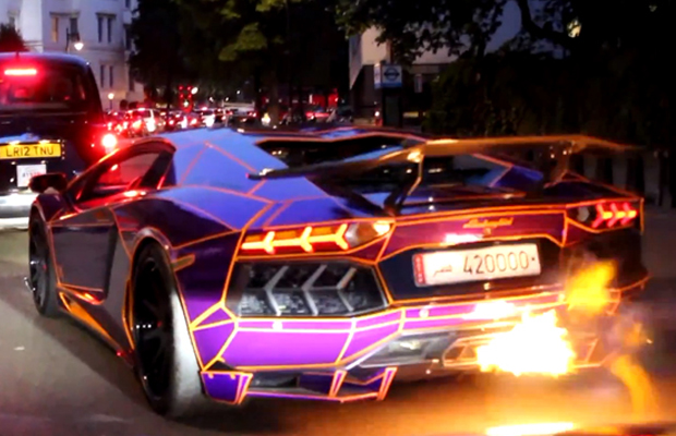 Watch This Tron Inspired Lamborghini Aventador Spit Hot Fire