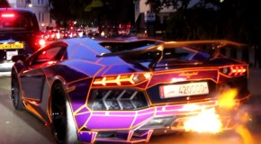 Watch This Tron-Inspired Lamborghini Aventador Spit Hot Fire
